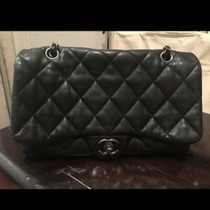 CHANEL Lambskin Quilted Chanel 3 Flap Bag Black